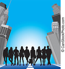 young people in the city - silhouette of group young people...