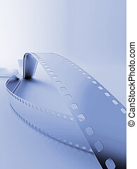 model of a photo film on a blue background