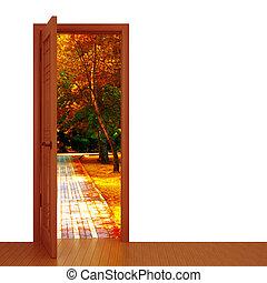 unclosed door and beautiful autumn landscape