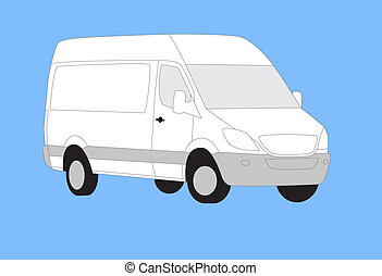 White delivery van isolated on blue background