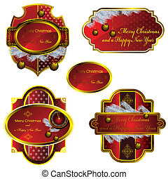 set of christmas red labels - set of five christmas labels,...