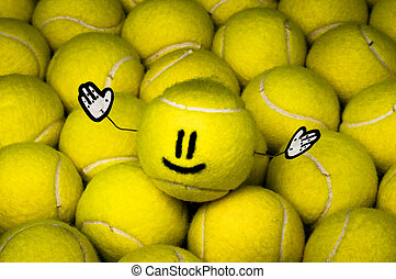 Leader of the balls - Smiley leader of all yellow tennis...