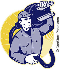 Electrician Worker Holding An Electric Plug - Illustration...