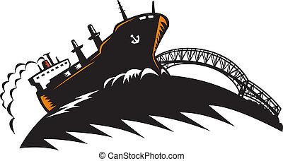 橋, 船, 貨物船, 容器, 貨物