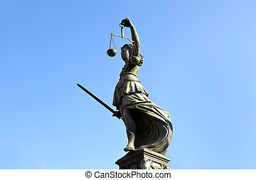 Statue of Lady Justice in front of the Romer in Frankfurt -...