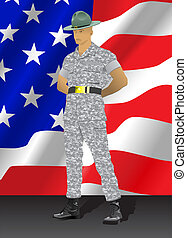 Drill instructor standing with US flag in the background
