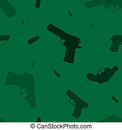 Seamless guns pattern green