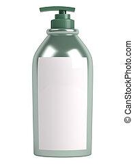 Green shampoo bottle isolated on white background