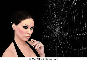 Spider woman - Portrait of a young beautiful woman with...