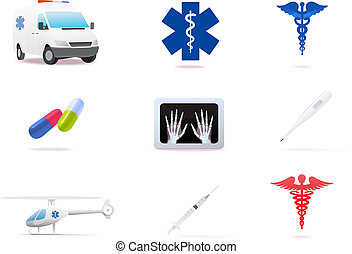 Medical icons set isolated on white