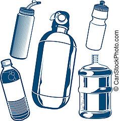 eau, bouteille, collection