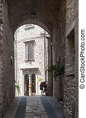 Assisi, old street - Assisi Perugia, Umbria, Italy, old...