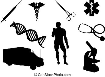 Healthcare and medicine silhouettes isolated on white