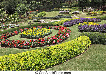 The decorated flower beds - Huge picturesque landscape park...
