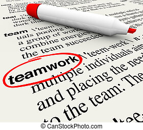 Teamwork Dictionary Definition Word Circled