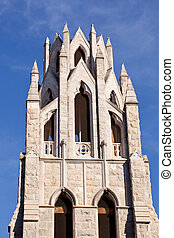 Tower of St Augustine church in Washington - Ornate stone...