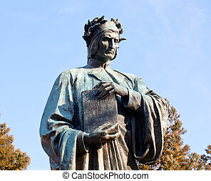 Dante statue in Meridian Hill park - Statue of Dante holding...