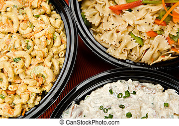 Salad Side Dishes - Macaroni salad, pasta salad and potato...