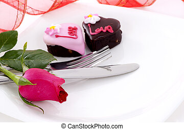 Heart Shape Chocolate with rose - Valentine Series, Heart...