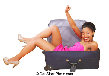 Happy girl in suitcase - Happy cheering female in a...