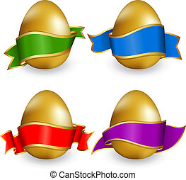 Collection easter egg with ribbon