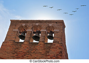 A flight of migratory birds over the bell tower - A...