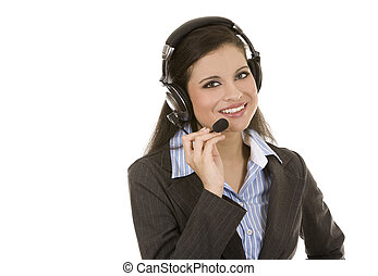 telemarketing person - beautiful brunette wearing headset...