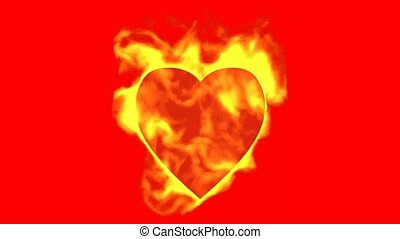 burning heart and fire,valentine's day energy heart.