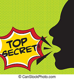 top secret comic explosion, pop art vector illustration