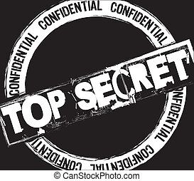 top secret stamp over black background vector illustration