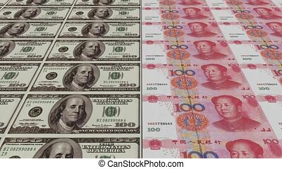Printing Money Animation,100 dollar and 100 RMB bills