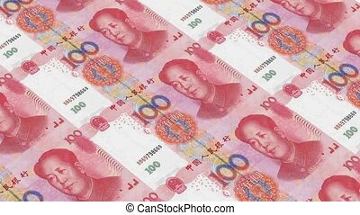 Printing Money Animation,100 RMB bills.