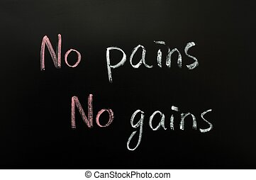 No pains, no gains - Proverb of no pains, no gains written...