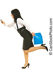 Stressed businesswoman in hurry - Stressed business woman in...
