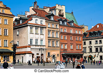 Colourful buildings in the center of Warsaw Poland