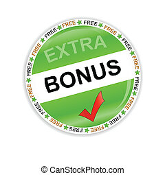 Bonus icon - Green bonus symbol located on a white...
