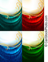 Set color fabric curtain, holiday background, Gradient mesh