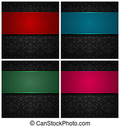 Set ornament template fabric texture, color ribbons. Vector...