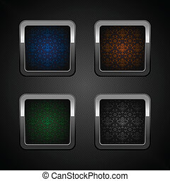 Set chrome web buttons, blank colors ornamental background....