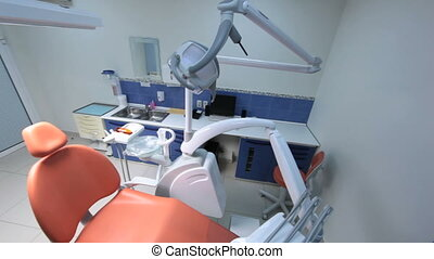 Dentist equipment - Office of the dentist being empty and...