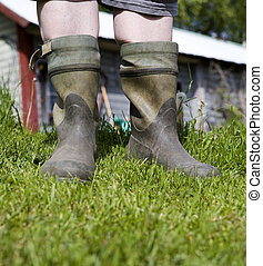 Galoshes - Close up of Human wearing Galoshes
