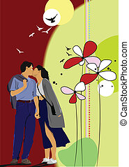 Flower  background with kissing co