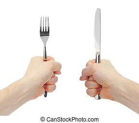 faca, garfo, cutelaria, mãos, isolado