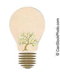 Tree in light bulb recycled paper stick