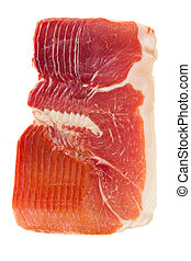 jamon serrano - cured ham - slices of Jamon Serrano, spanish...