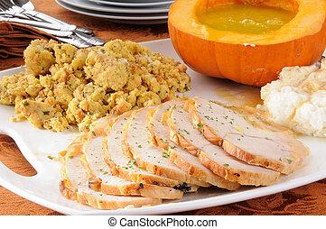 Family style Thanksgiving dinner