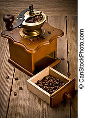 rústico, café, amoladora