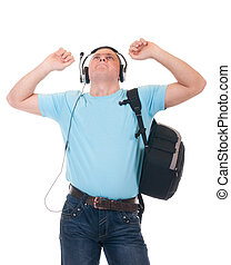 student listening to music on headphone