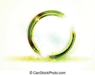 Abstract round green vector frame on light background -...