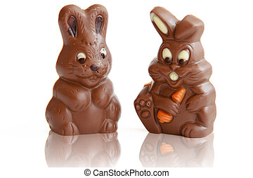 Two Chocolate Easter Bunny - Chocolate Easter Bunny...